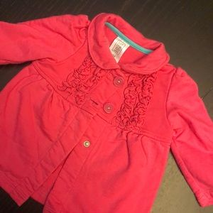 Carter's Pink Jacket with Ruffle Detail buttons